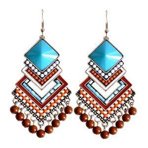 Bohemian Hollow Oval Colorful Rice Beads Earrings